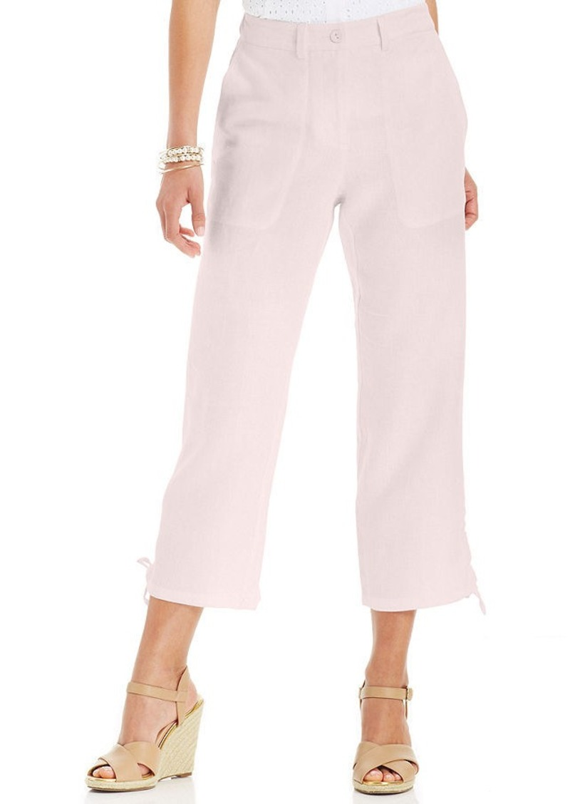 Charter Club Petite Cropped Linen Drawstring Pants