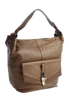 Kooba fog grey leather 'Bedford' flap pocket shoulder bag