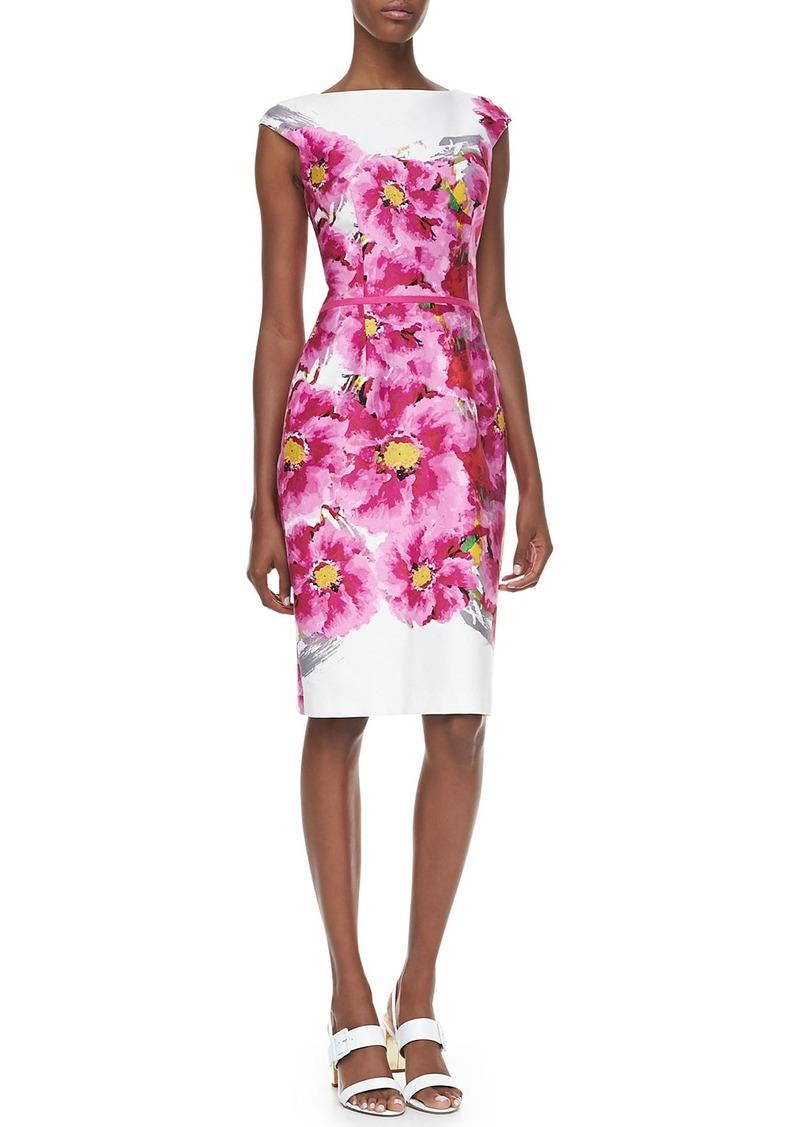David Meister Cap-Sleeve Floral-Print Dress