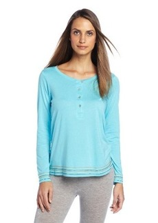Hue Sleepwear Women's Solid Long Sleeve Henley Tee