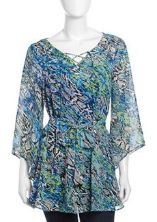 Laundry by Shelli Segal Bell-Sleeve Graphic-Print Georgette Belted Tunic, Blue Beret
