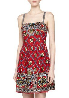 Nanette Lepore Geometric-Print Voile Strap Dress, Red Multi