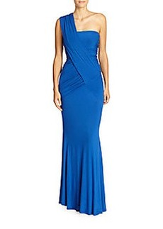 Donna Karan One Shoulder Draped Jersey Gown