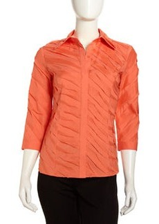 Lafayette 148 New York Steffie 3/4-Sleeve Raw-Edge Blouse, Papaya
