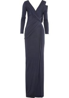 Donna Karan Split-shoulder stretch-jersey gown