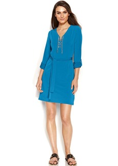 MICHAEL Michael Kors Petite Long-Sleeve Lace-Up Belted Dress
