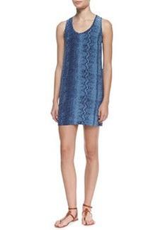 Peri B. Silk Snake-Print Scoop-Neck Dress   Peri B. Silk Snake-Print Scoop-Neck Dress