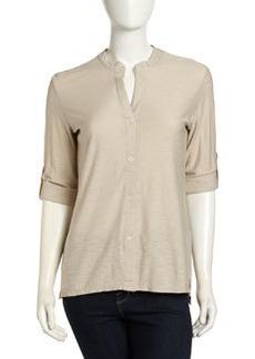 James Perse Slub Knit 3/4-Sleeve Top, Flax