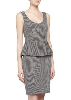 Nanette Lepore Sleeveless Pinstriped Peplum Jersey Dress, Blue/Ivory