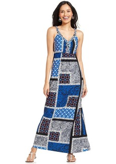 Style&co. Petite Patchwork-Print Braided Maxi Dress