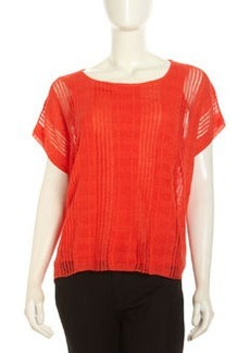 Lafayette 148 New York Scoop Ribbed Slub Knit Sweater, Dayglow
