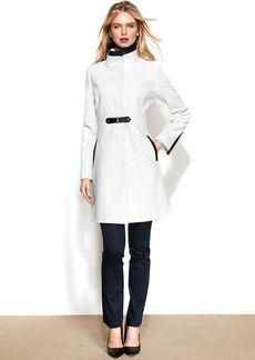 Via Spiga Petite Faux-Leather-Trim Walker Coat