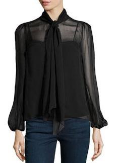 Diane von Furstenberg Bishop-Sleeve Airy Voile Blouse, Black