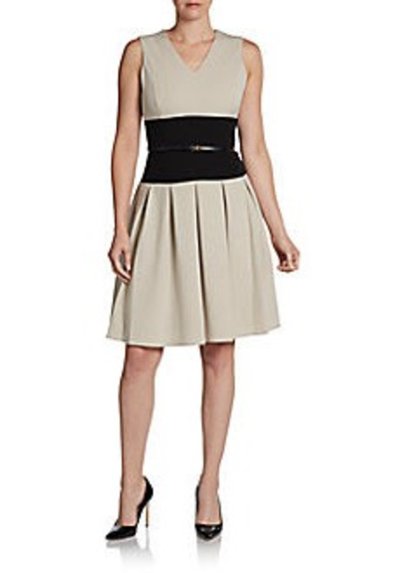 Calvin Klein Belted Colorblock Fit-And-Flare Dress