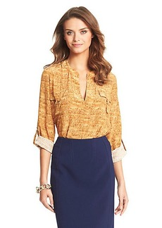 Danielle Cork Printed Silk Safari Blouse