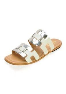 Metallic Banded Slide Sandal   Metallic Banded Slide Sandal
