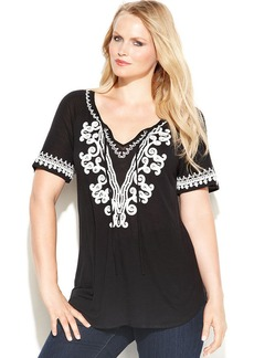 INC International Concepts Plus Size Embroidered Bead-Embellished Peasant Top