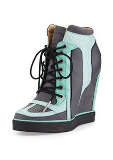 L.A.M.B. Summer Snake-Print Wedge Sneaker, Black/Mint