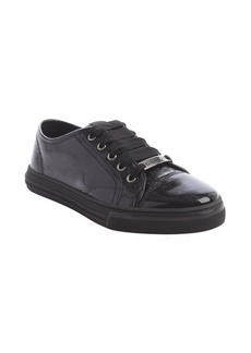 Gucci black patent leather grosgrain lace sneakers
