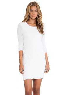 James Perse Inside Out Linen Jersey Dress in White