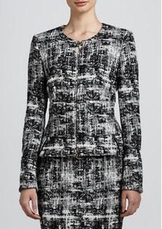Escada Scribble Tweed Jacket, Black/White
