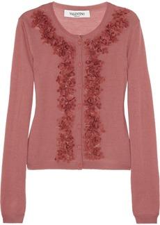 Valentino Floral-appliquéd wool-blend cardigan