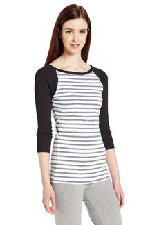 Calvin Klein Performance Women's 3/4 Sleeve Colorblock Stripe Tee