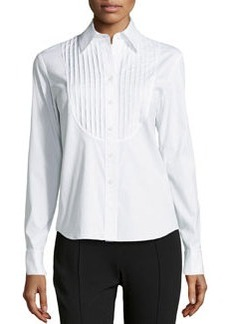 Lafayette 148 New York Nula Tuxedo Shirting Blouse, White