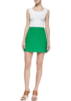 Michael Kors Compact Circle-Pocket Canvas Skirt, Palm