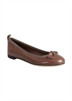 Gucci antique mauve patent leather GG web embossed bow detail flats