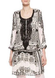 Roberto Cavalli Leather-Bib Printed Georgette Tunic, Black/White