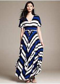 Striped Handkerchief-Hem Patio Dress