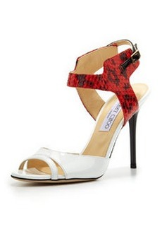 Jimmy Choo Marcia Snake & Patent Ankle-Wrap Sandal, White/Flame