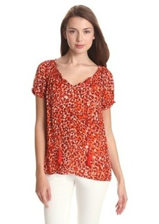 Lucky Brand Women's Sofi Mayan Cheetah Top