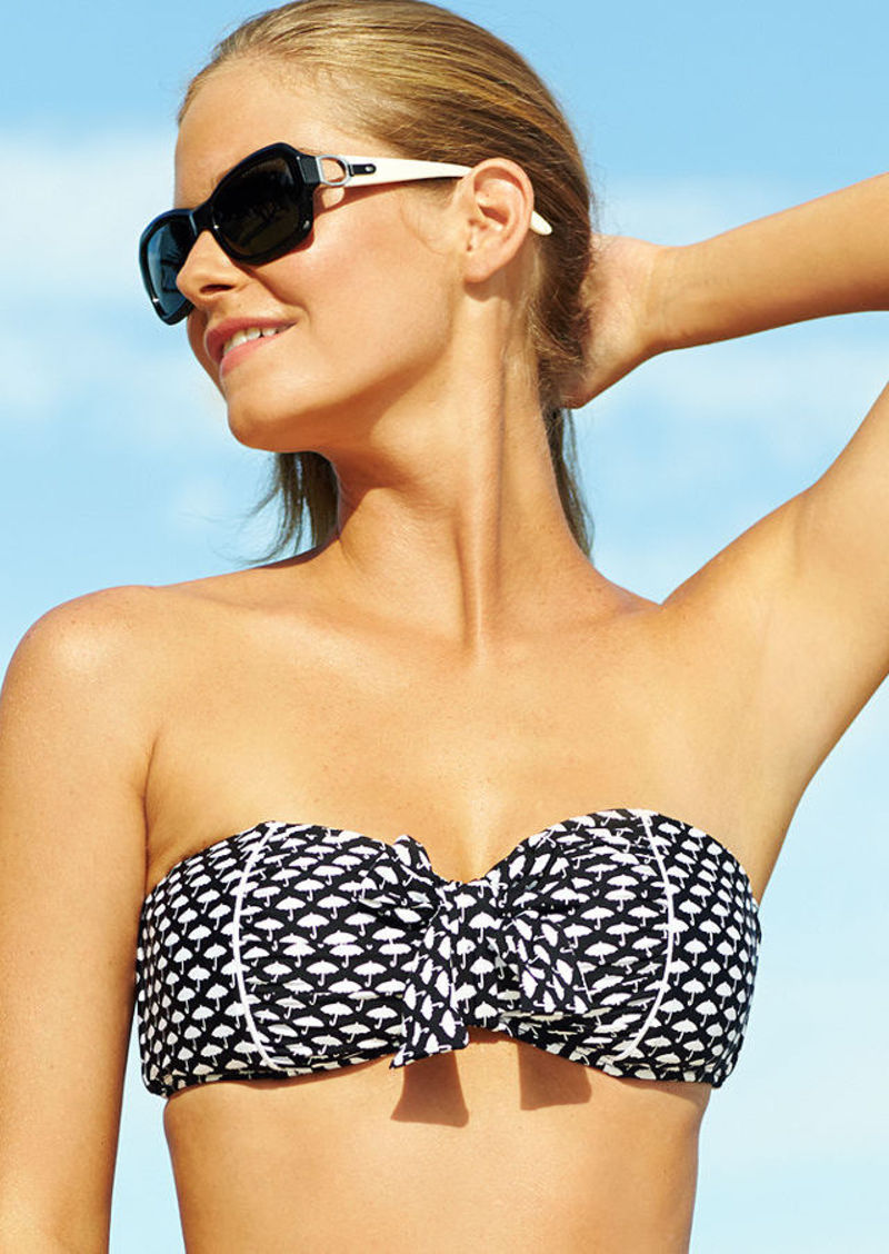 Kenneth Cole Reaction Umbrella-Print Bow-Front Bandeau Bikini Top