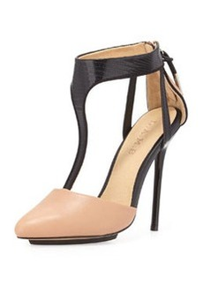 L.A.M.B. Serena Point-Toe T-Strap Pump, Natural/Black