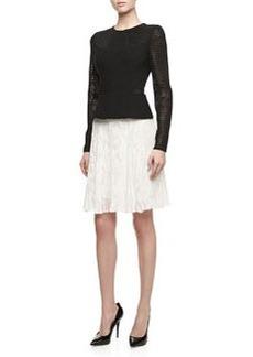 Jason Wu Long-Sleeve Pleated-Hem Combo Dress