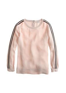 Double-stripe crepe blouse
