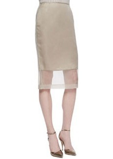 Lafayette 148 New York Slim Skirt with Organza Overlay, Khaki