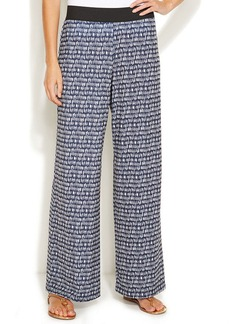 Alfani Petite Straight-Leg Printed Pull-On Pants