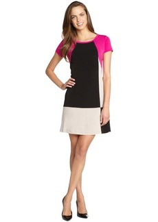Calvin Klein zinnia and slate grey colorblock stretch jersey 3/4 sleeve dress