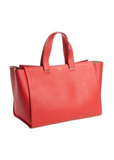 Armani red leather shopper tote