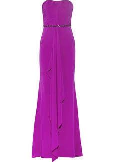 Badgley Mischka Embellished stretch-silk gown