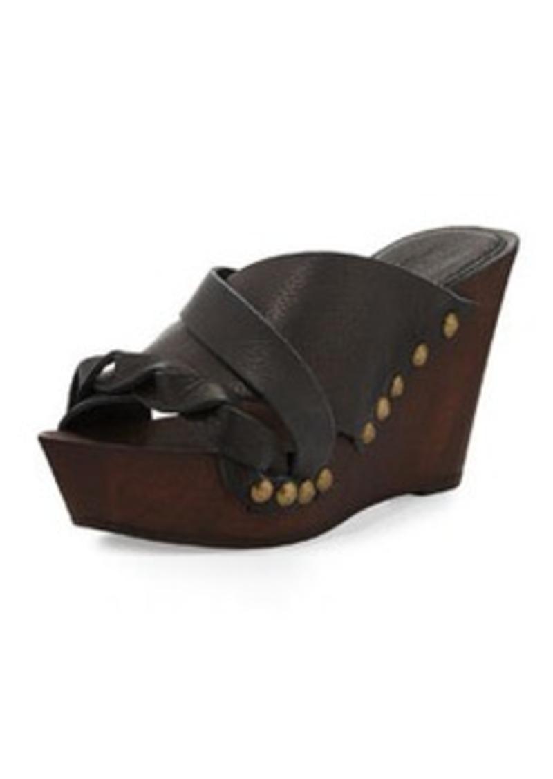 Charles David Menum Braided Leather Wedge Sandal, Black