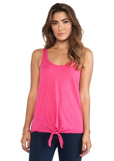 Michael Stars Tie Front Tank in Pink