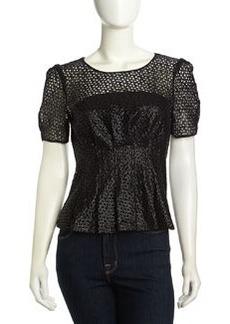 Catherine Malandrino Ciara Cap Shimmer Circle Crochet Top, Noir