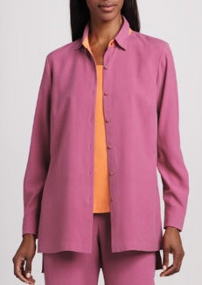 Go Silk Easy-Fit Colorblock Silk Shirt, Petite