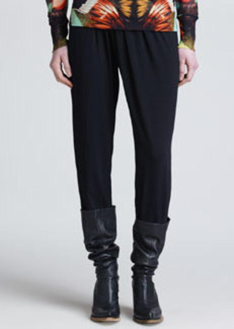 Jean Paul Gaultier Pants with Crossover Knit Waistband, Black