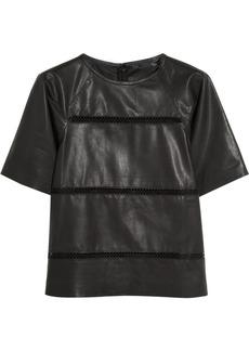 Tibi Aria pointelle-detailed leather top