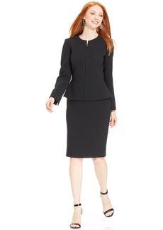 Tahari ASL Petite Zip-Front Peplum Pinstriped Skirt Suit